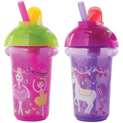 Munchkin Click Lock Flip Straw Cup - Pink/Purple - 9 oz - 2 ct