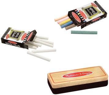 Melissa & Doug Chalk (white - colored) and Eraser Bundle