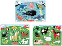 Melissa & Doug Farm Animals, Pet & Sea Creature Peg Puzzle Set