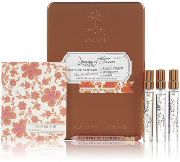Library of Flowers Parfum Sampler Tin, Paper, Cotton & String