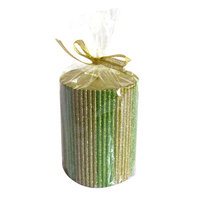 American Atelier Striped Glitter Pillar Candle Color: Emerald and Gold, Size: 4