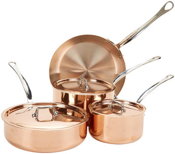 Mauviel Copper M'150S 7 Piece Cookware Set w/Wooden Crate
