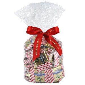Ghirardelli Chocolate Large Milk Chocolate Peppermint Bark SQUARES Chocolates Gift Bag
