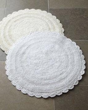 Neiman Marcus Espalma Round Crochet Border Bath Rug - Reversible, 24?