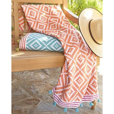 John Robshaw Alabat Beach Towel, CORAL, Size: BEACH TOWEL