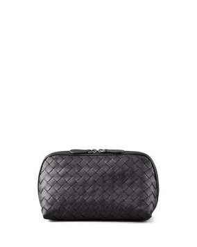 Woven Leather Medium Cosmetic Case, Black Bottega Veneta