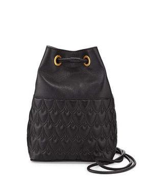 Reece Hudson Small Bowery Signature Embossed Bucket Bag, Black