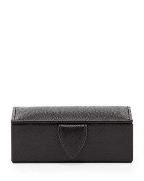 Panama Mini Cuff Link Box, Black Smythson