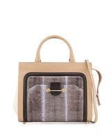 Jason Wu Daphne Leather & Snake Crossbody Bag, Beige