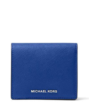 Michael Michael Kors Jet Set Travel Leather Logo Card Case, Elctric Blue