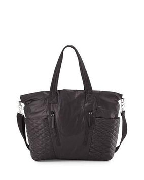 Rebecca Minkoff Yoko Leather-Trim Baby Bag, Black