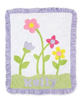 Petal Pusher Plush Blanket, White/Lilac - Boogie Baby