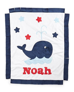 Plush Whale Blanket, White/Navy - Boogie Baby
