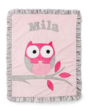 It's a Hoot Plush Blanket, Pink - Boogie Baby