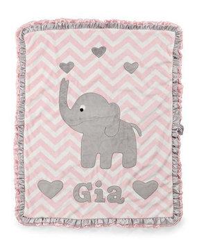 Plush Chevron Elephant Blanket, Pink - Boogie Baby