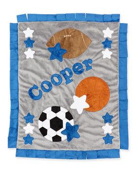 Good Sport Plush Blanket, Gray/Blue - Boogie Baby
