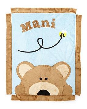 Plush Peek-A-Boo Bear Blanket, Blue/Brown - Boogie Baby