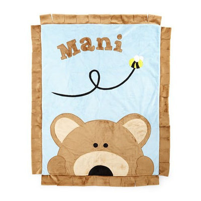 Plush Peek-A-Boo Bear Blanket, Blue/Brown - Boogie Baby