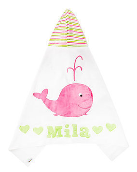Hooded Whale Towel, White/Pink - Boogie Baby