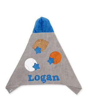 Good Sport Hooded Towel, Gray/Blue - Boogie Baby