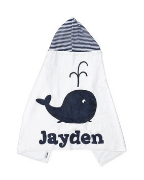 Hooded Whale Towel, White/Blue - Boogie Baby