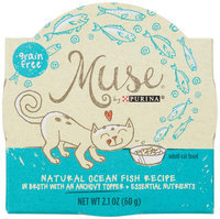 Muse by Purina Natural Ocean Fish Recipe In Broth with an Anchovy Topper Cat Food, 2.1 oz.