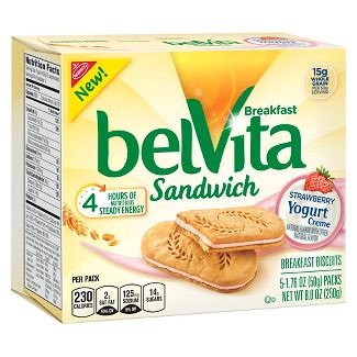 Nabisco belVita Breakfast Biscuits Sandwich Strawberry Yogurt Creme