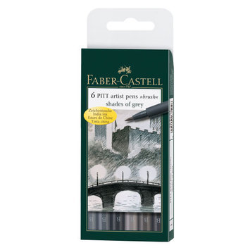 Pitt Artist Pens Set, Shades of Grey, 6 Pieces by Faber-Castell