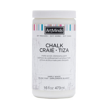 DIY Home Chalk Distressing Paint by ArtMinds, 16oz, 16 oz in Simply White