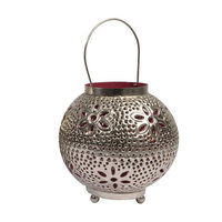 Kaemingk 8 Tropicalia Silver and Red Cut-Out Floral Votive Candle Holder