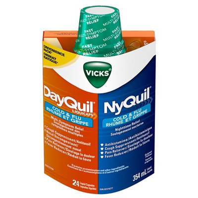 NyQuil™ Cold & Flu Nighttime Relief Liquid/DayQuil™ Cold & Flu Multi-Symptom Relief LiquiCaps™