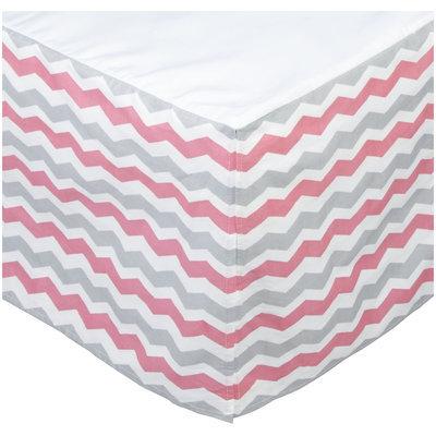 Oliver B Chevron Crib Skirt - Pink, Grey and White