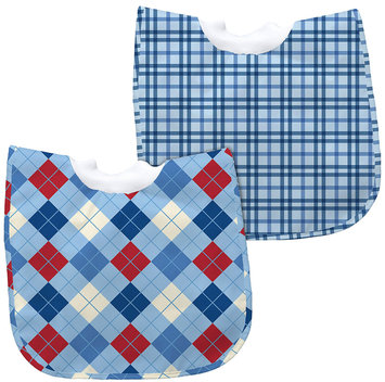 green sprouts by i play Best Bib Pullover - Light Blue Argyle/Blue Plaid