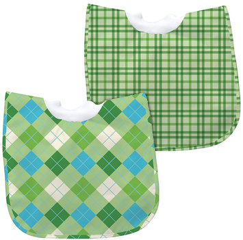 green sprouts by i play Best Bib Pullover - Green Argyle/Green Plaid