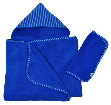 green sprouts by i play. Brights Organic Terry Hooded Towel and Washcloth Gift Set - Royal