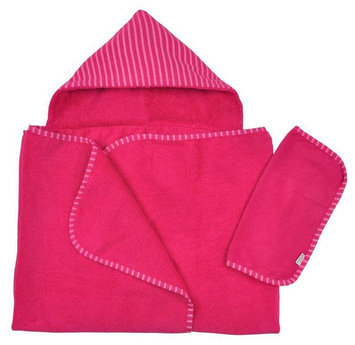 green sprouts by i play. Brights Organic Terry Hooded Towel and Washcloth Gift Set - Fuchsia