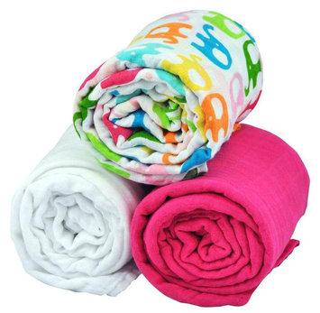 i play Brights Organic Muslin Blanket 3pc Gift Set- Elephant Print - One Size