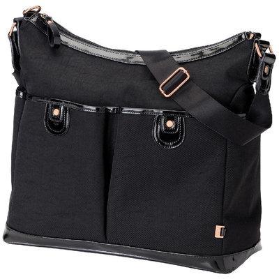 OiOi 2 Pocket Hobo Diaper Bag in Black