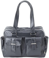 OiOi Gunmetal with Paisley Lining Patent Carry All Diaper Bag