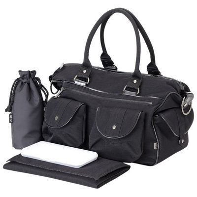 OiOi Carry All Diaper Bag - Black Wash with Patent Trim