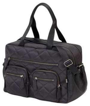 Oi Oi Carry All Diaper Bag (Black Quilted Diamond/OiOi Jacquard Lining)