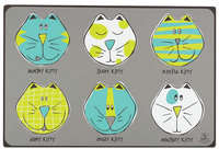 ORE Pet Comic Kitty Placemat - Blue & Green