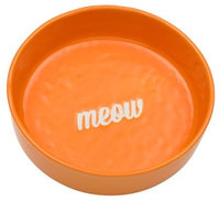 ORE Pet Ceramic Solid Bowl Etched Meow - Orange - 1.5 cups