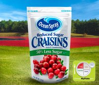 Ocean Spray Reduced Sugar Craisins Dried Cranberries 50% Less Suger