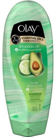 Olay 2-in-1 Essential Oils Ribbons Avocado Oil + Soothing Cucumber Moisturizing Body Wash