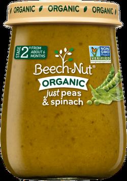 Beech-Nut organic just peas & spinach