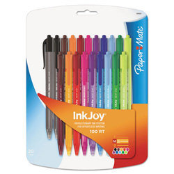 Sanford 1879331 Inkjoy 100rt Retractable Ballpoint Pen, 1.0mm, Assorted, 20/pk