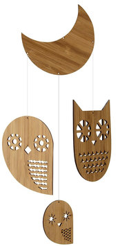 Petit Collage Classic Bamboo Mobile, Owl Family