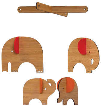 Petit Collage Bamboo Mobile Deluxe - Red Elephant
