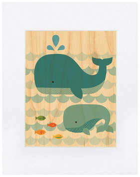 Petit Collage Small Unframed Whale Baby Print On Wood